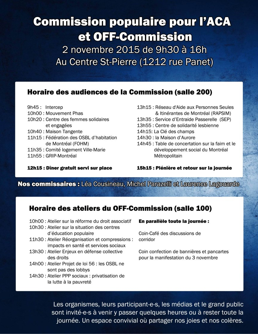 horaire commission